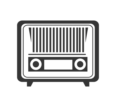 hit tech: Antique radio stereo in black and white colors isolated flat icon, vector illustration.