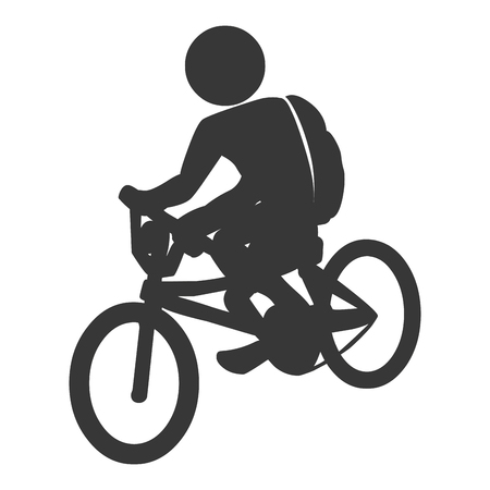 active life: Men doing sport bike  icon in black and white , vector illustration graphic design.