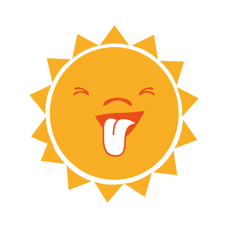 burn out: Yellow sun funny cartoon, isolated flat icon vector illustration graphic.