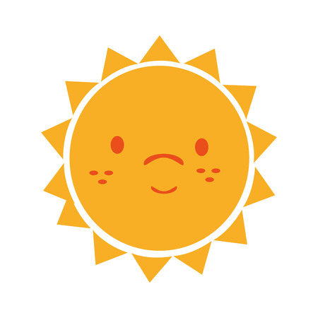 cuteness: Yellow sun funny cartoon, isolated flat icon vector illustration graphic.