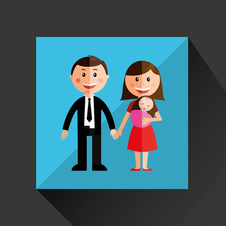 new born baby girl: members of the family design, vector illustration eps10 graphic