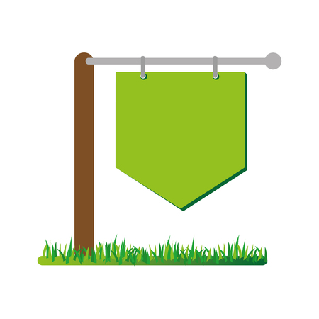 directional sign: Green and empty signpost on grass, vector illustration graphic design. Illustration