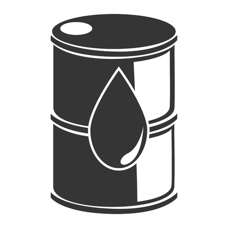 steel drum: Petroleum barrel in black and white colors, vector illustration graphic.
