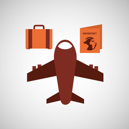 travel airplane passport bag isolated, vector illustration eps10 Illusztráció