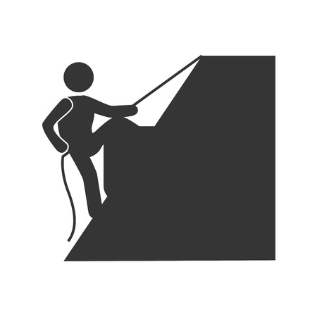 climbing sport: Athlete trainning climbing sport in black and white colors, vector illustration graphic Illustration