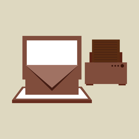 computer printer: technology office information computer printer isolated, vector illustration
