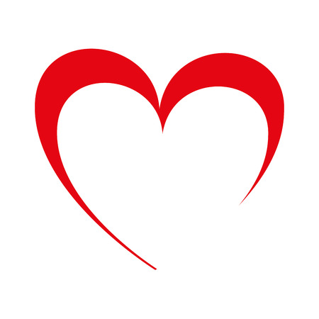 Red heart shape, isolated flat icon vector illustration graphic.