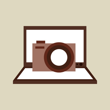 laptop isolated: camera photo technology computer laptop isolated, vector illustration