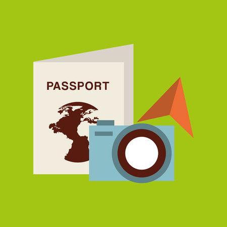 sunglasses isolated: passport travel camera sunglasses isolated, vector illustration eps10 Illustration