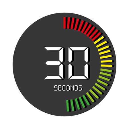 Il tempo e l'orologio icona isolato piatto, illustrazione grafica vettoriale. Vettoriali