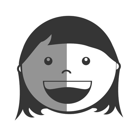 black baby boy: Little girl smiling cartoon design, vector illustration graphic.