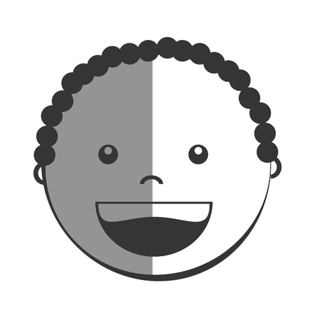 black baby boy: Little boy smiling cartoon design, isolated flat vector illustration graphic. Illustration