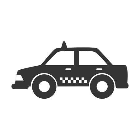 black cab: Taxi cab in black and white icon, isolated flat icon vector illustration.