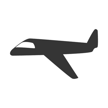 power delivery: Jet airplane in black and white icon, isolated flat icon vector illustration.
