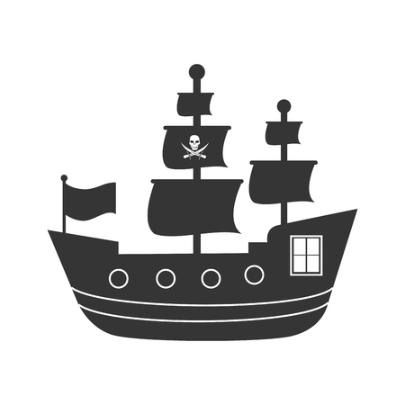Pirate boat in black and white icon, isolated flat icon vector illustration.