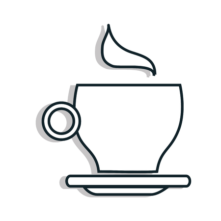 porcelain: Delicious coffee served on porcelain cup, vector illustration graphic.