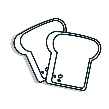 foodstuff: Bread Foodstuff isolated flat icon in black and white colors, vector illustration.
