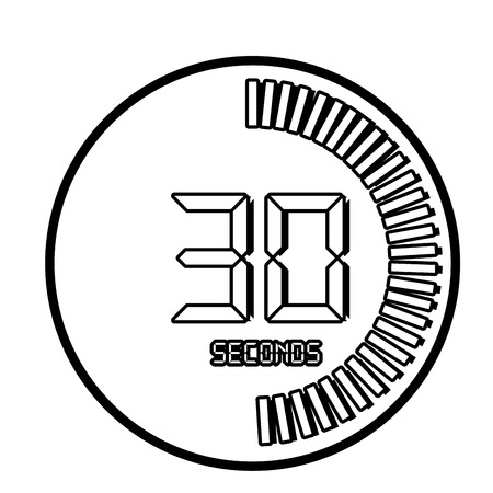 second: Time and clock isolated flat line icon in black and white colors, vector illustration graphic. Illustration