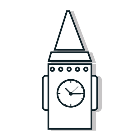 big timer: Time and clock isolated flat line icon in black and white colors, vector illustration graphic. Illustration