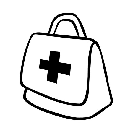 emergency kit: Medical emergency first aids kit or suitcase line icon, vector illustration graphic. Illustration