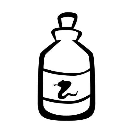 poison bottle: Botella aislada del veneno de serpiente Icono m�dico de la plana, ejemplo gr�fico del vector. Vectores