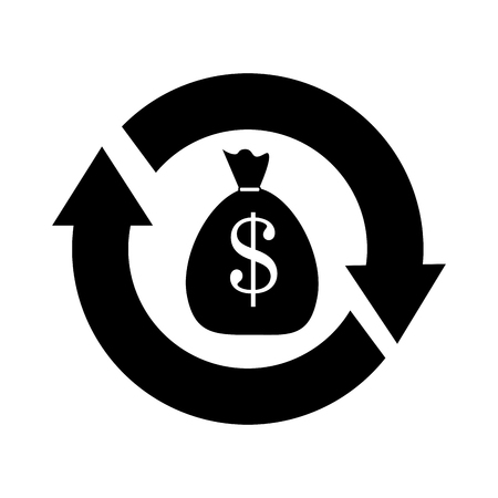 financial cycle: Money investment isolated flat icon, vector illustration graphic. Illustration