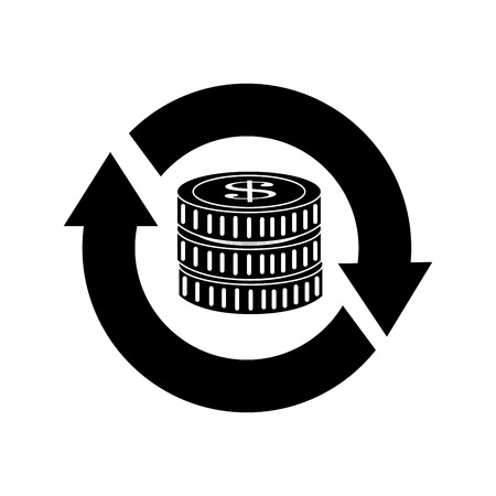 cash cycle: Money investment isolated flat icon, vector illustration graphic. Illustration