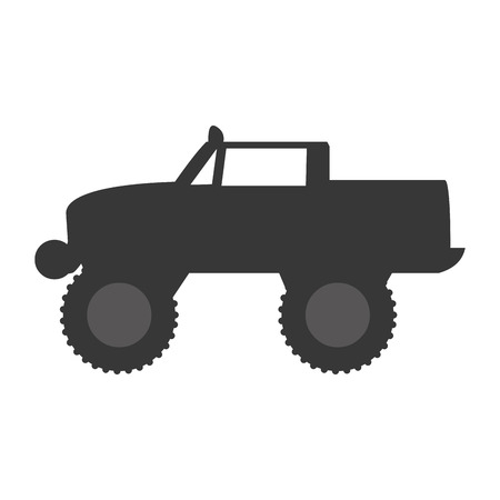 monster truck: Monster truck extreme sport isolated flat icon, vector illustration pictogram