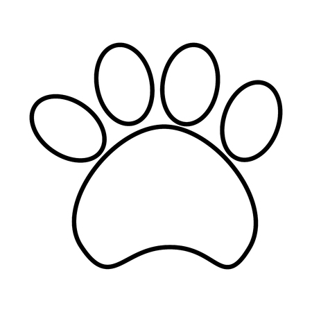 Dog footprint isolated flat icon in black and white colors, vector illustration graphic. Vetores