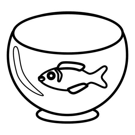 Fish cute pet graphic design, vector illustration isolated icon.