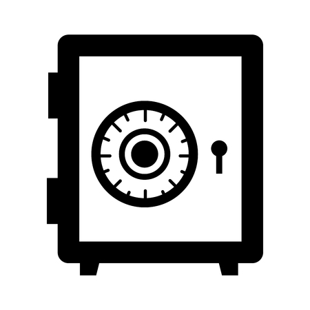strongbox: Strongbox isolated flat icon in black and white icons, vector illustration graphic.