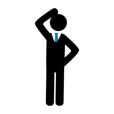 black pictogram: Businessman isolated flat icon, vector illustration graphic.