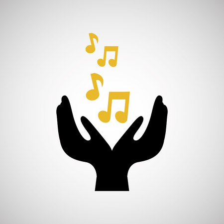unrecognizable: note music musical hand holding isolated, vector illustration eps10