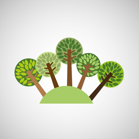 walk through: tree forest nature isolated, vector illustration eps10