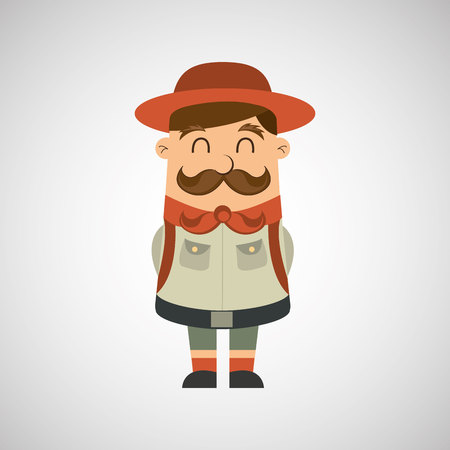 scout: people person man boy scout camp isolated, vector illustration eps10 Illustration