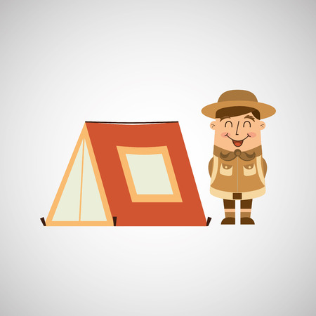 boy scouts tent: people person man boy scout camp isolated, vector illustration eps10 Illustration
