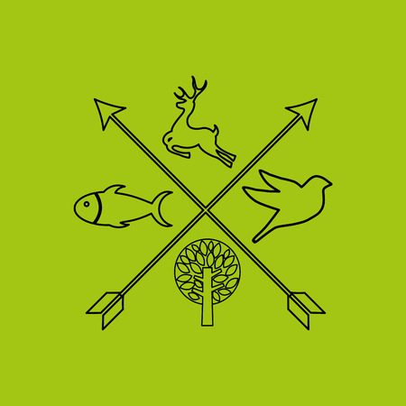 walk through: nature icon design with tree and animals, vector illustration
