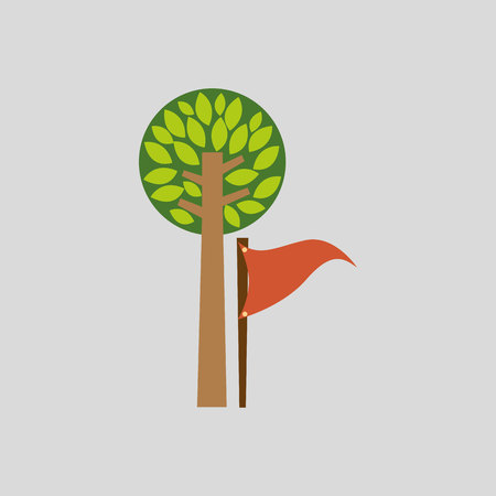 binoculars view: camp design with tree and object isolated, vector illustration eps10 Illustration