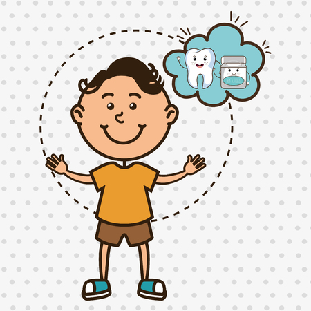 hygienist: child with tooth isolated icon design, vector illustration  graphic