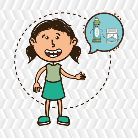 dental health: girl with tooth isolated icon design, vector illustration  graphic