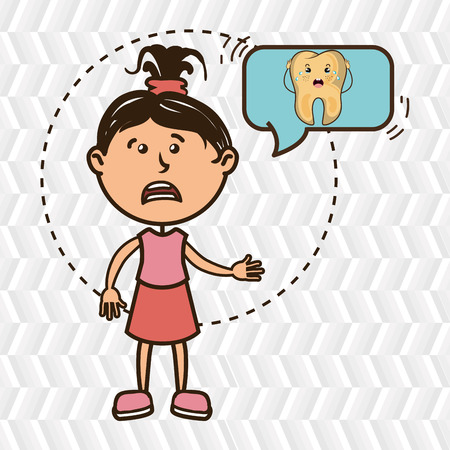 mouth pain: girl with tooth isolated icon design, vector illustration  graphic