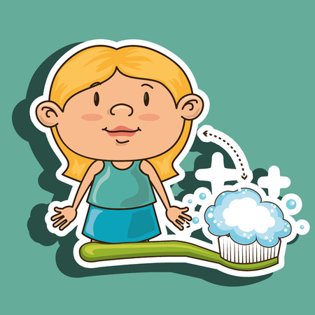 hygienist: girl with toothbrush isolated icon design, vector illustration  graphic Illustration