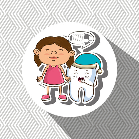 hygienist: girl with tooth isolated icon design, vector illustration  graphic