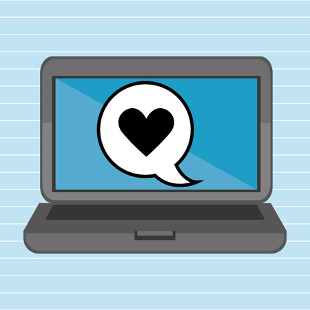 office romance: laptop with heart isolated icon design, vector illustration  graphic