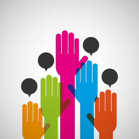hands with differents colors, networking and teamwork cooperation icon, vector illustration