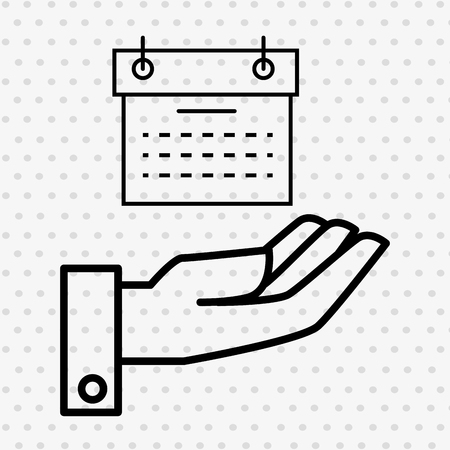 calendar isolated: hand and calendar isolated icon design, vector illustration  graphic Illustration