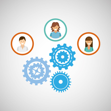 people working together networking and teamwork cooperation icon, vector illustration Illustration