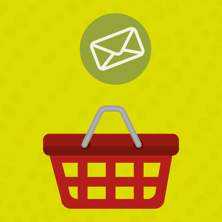 red basket and envelope isolated icon design, vector illustration  graphic