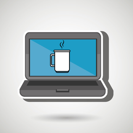 long drink: laptop with cup isolated icon design, vector illustration  graphic
