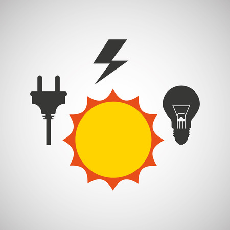 sun with electricity power icon, vector illustration